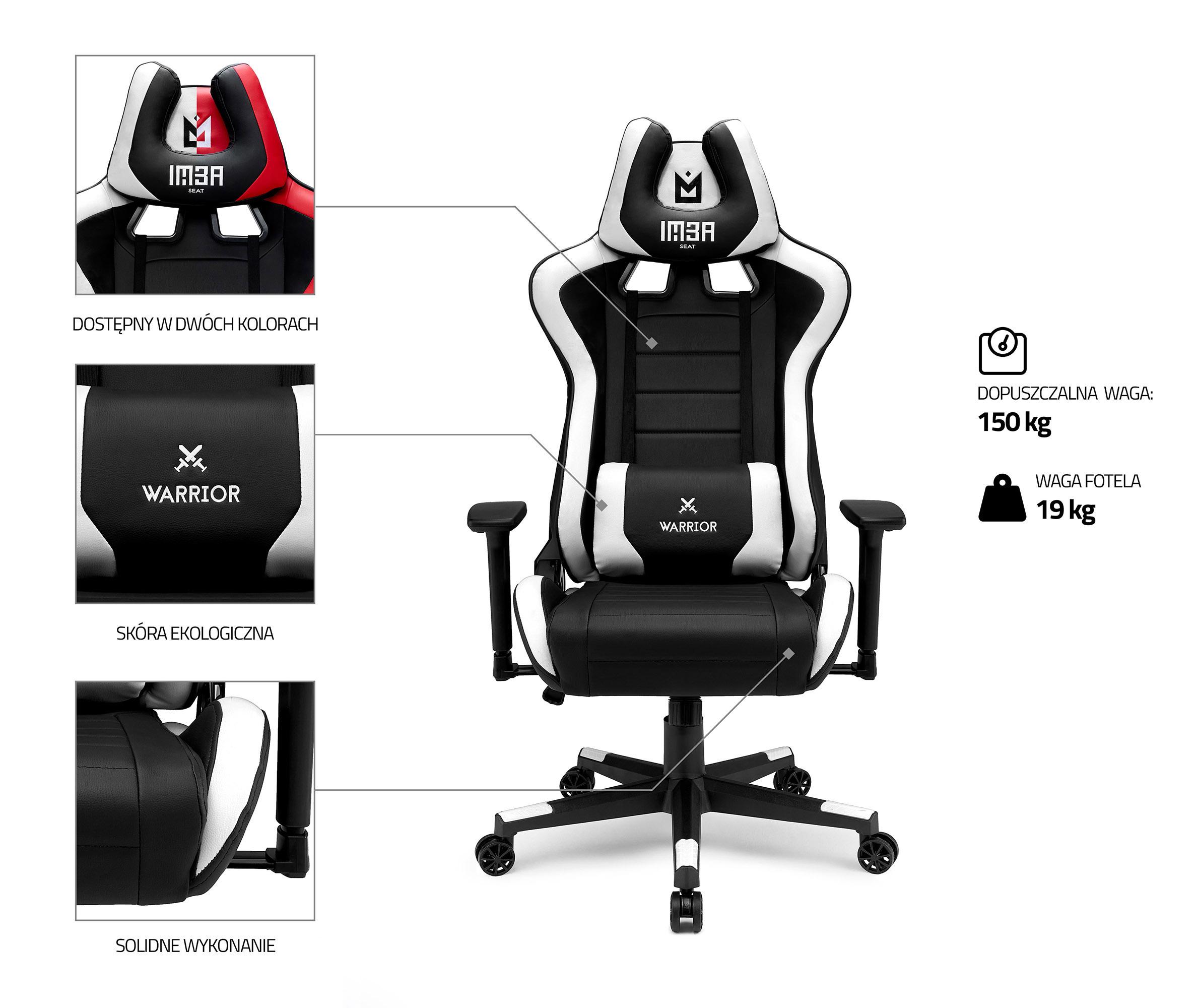 Skórzany fotel gamingowy IMBA Warrior White