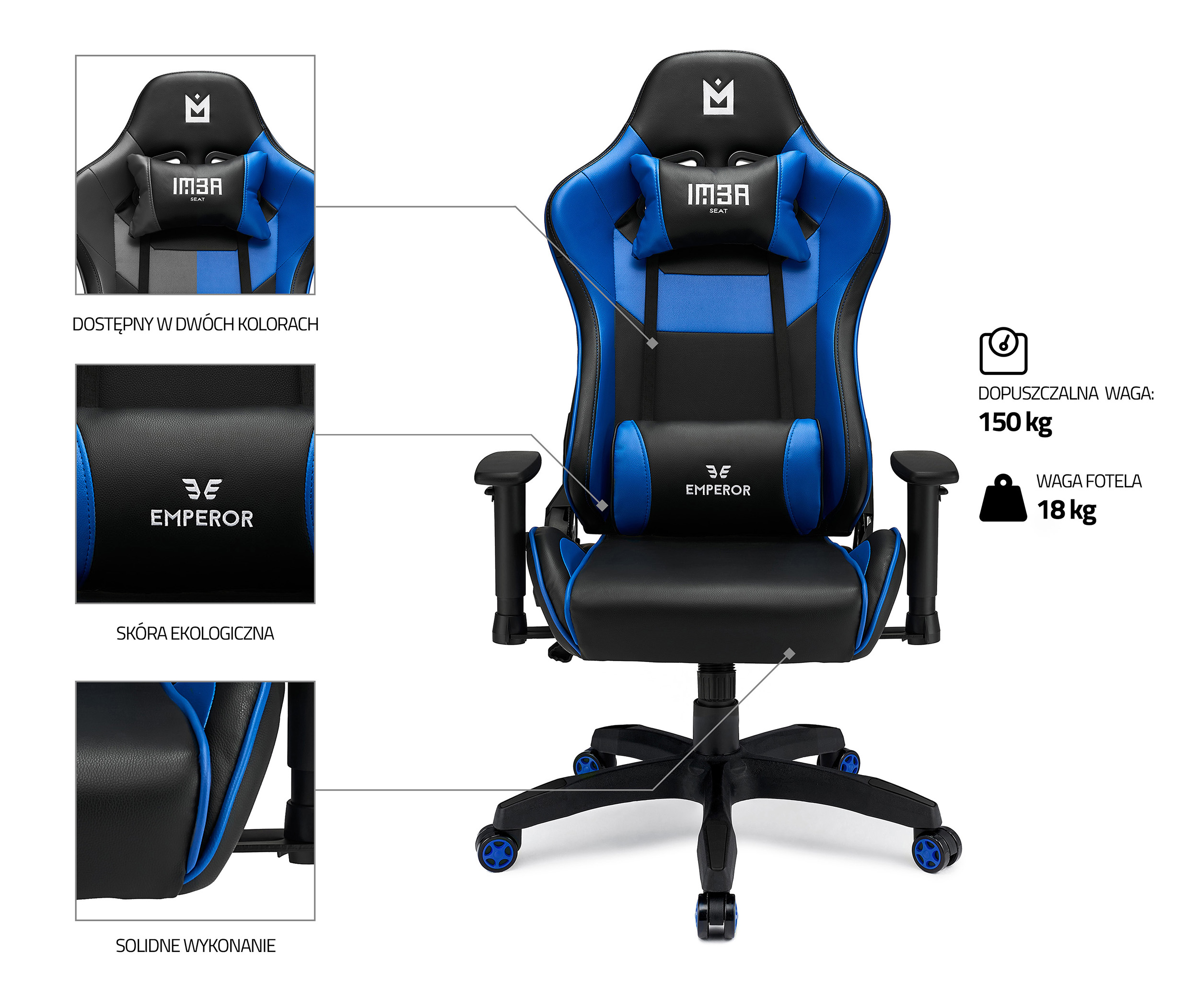 IMBA Emperor Blue fotel gamingowy