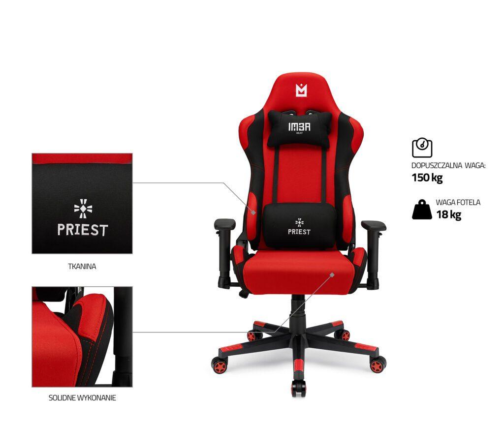 Czerwony fotel gamingowy IMBA PRIEST